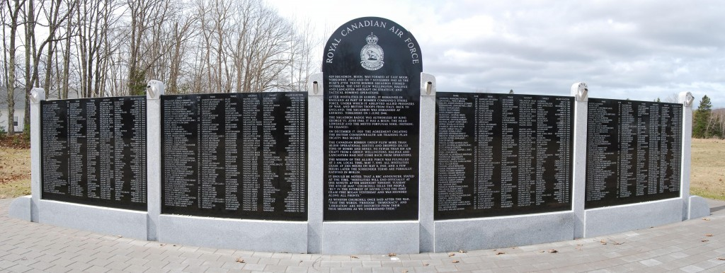 RCAF Memorial Wall erected under the sponsorship of Mark Smith. This is the east side.