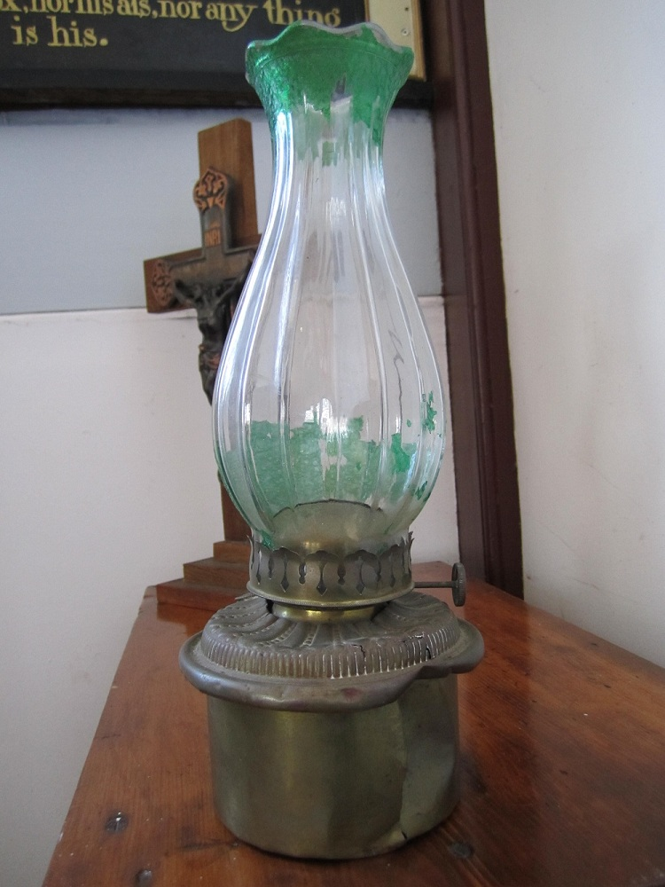 Oil lamps like this were used to provide illumination when needed.