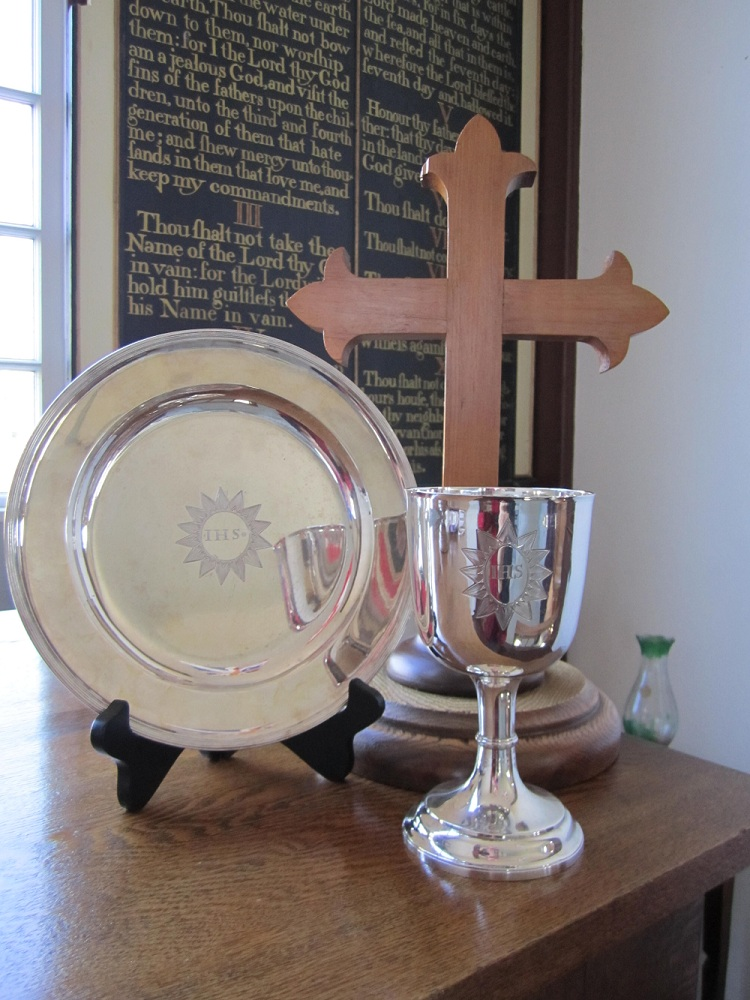 The silver cup and chalice - A gift from Mrs. Catherine Roberts to Holy Trinity Church in Wilmot, NS. 1792.