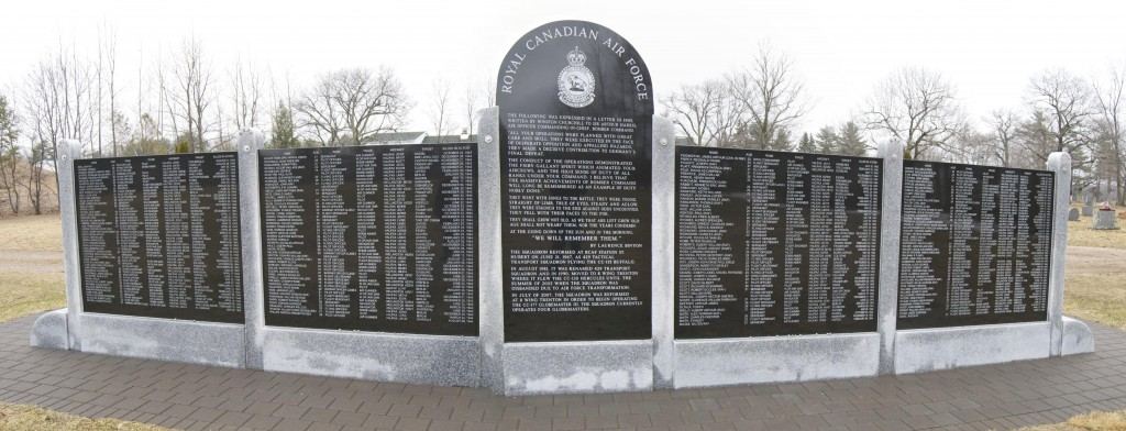 RCAF Buffalo Squadron Memorial Wall erected under the sponsorship of Mark Smith. West side.