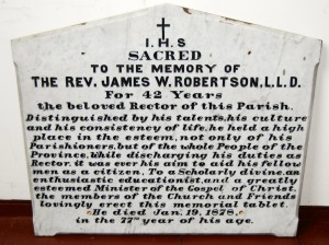 Memorial tablet to Rev. James Robertson