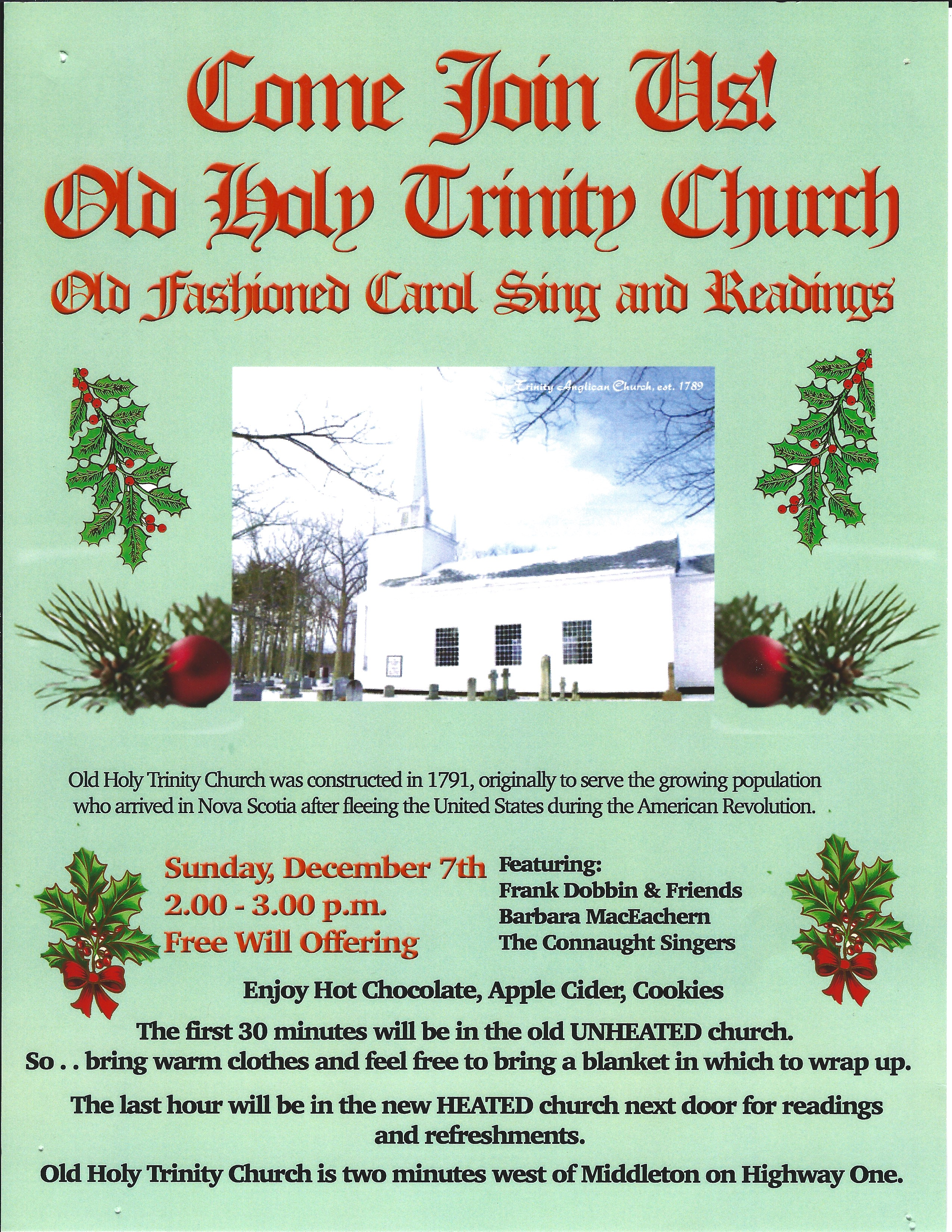 2014 Old Fashion Carol Sing and Reading Poster